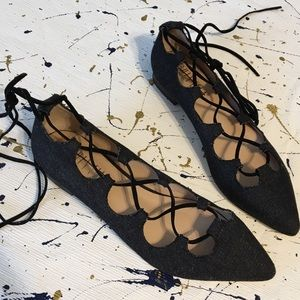 Anthropologie Billy Ella Lace Up Flats